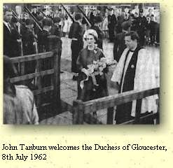 John Tanburn welcomes the Duchess of Gloucester, 8th July 1962